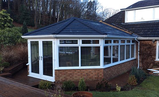 A conservatory on a rainy day